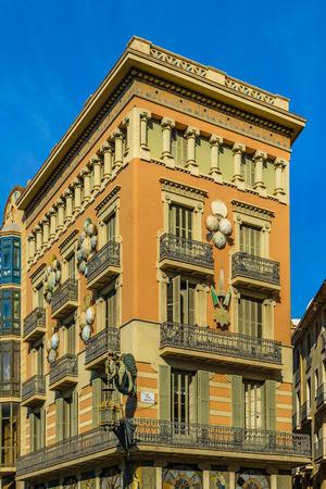BARCELONA, SPAIN, JANUARY - 2018 - Famouse modernist style building at la rambla street in barcelona city. Editorial