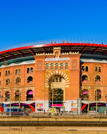BARCELONA, SPAIN, JANUARY - 2018 - Exterior view of arenas barcelona building, and old bullring converted into a shopping center