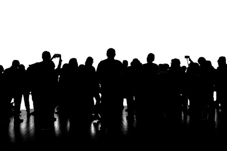 Panoramic isolated graphic silhouette of a group of people over white background Zdjęcie Seryjne