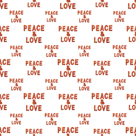 Typographic style seamless pattern design with peace and love text motif in red and white colors Stock Photo
