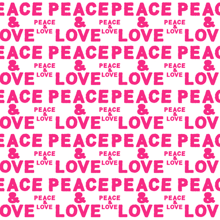 Typographic style seamless pattern design with peace and love text motif in pink and white colors Stock Photo