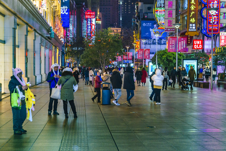 SHANGHAI, CHINA, DECEMBER - 2018 - Urban night scene at pedestrian nanjing road, the most famous street of shanghai city, china