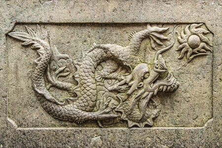 SHANGHAI, CHINA, DECEMBER - 2018 - Stone carved dragon artwork detail at exterior building in the historic center of shanghai, china Editorial