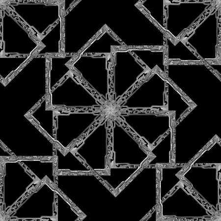 Digital photo collage manipulation technique technique geometric ornate mirrored seamless pattern design in dark colors