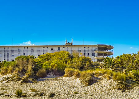 Famous nautical style twenty century waterfront hotel building in la floresta beach, canelones, uruguay Banco de Imagens