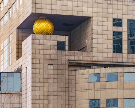 SHANGHAI, CHINA, DECEMBER - 2018 - Postmodern style building at famous the bund zone in shanghai city, china