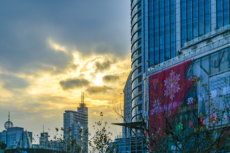 SHANGHAI, CHINA, JANUARY - 2019 - Contemporary buildings at people square zone in shanghai, china