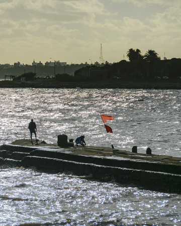Coastal summer scene at river in montevideo city, uruguay