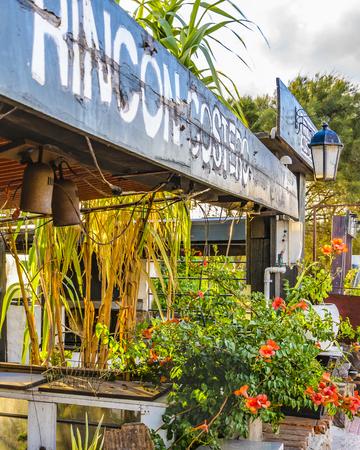 MONTEVIDEO, URUGUAY, FEBRUARY - 2019 - Perspective view of waterfront rustic style restaurant at punta gorda neighborhood in montevideo city, uruguay 報道画像