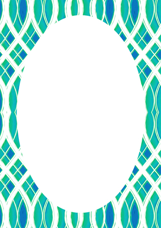 White circle frame background with decorated design borders