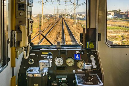 OSAKA, GIAPPONE, GENNAIO - 2019 - vecchia cabina del treno vuota, osaka, giappone