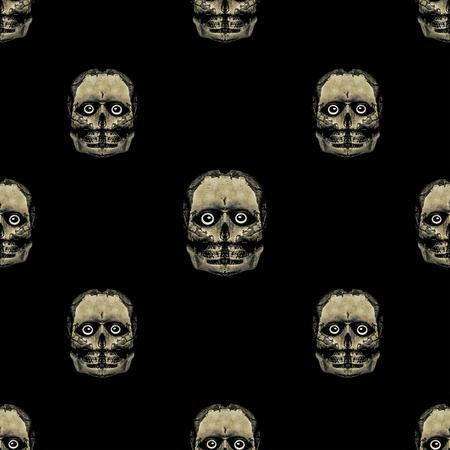 Monster alien skull motif seamless pattern design in grey and black background