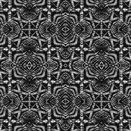 Digital abstract geometric seamless pattern background design in high contrast black and white colors Banco de Imagens