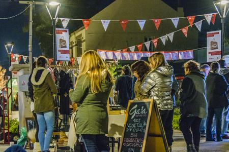 MONTEVIDEO, URUGUAY, JUNE - 2019 - Urban night outdoor street fair at carrasco neighborhood, montevideo city, uruguay