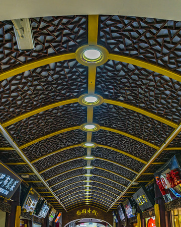 SHANGHAI, CHINA, DECEMBER - 2018 - Interior roof and walls of traditional accessories store in shanghai city, china
