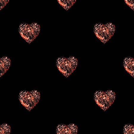 Conversational seamless pattern design with heart shaped motif in red and black colors Banco de Imagens