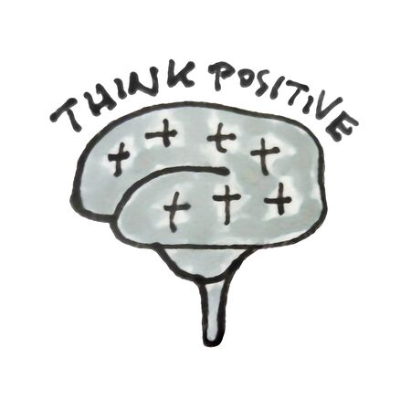 Positive thinking conceptual hand drawn illustration isolated on white background