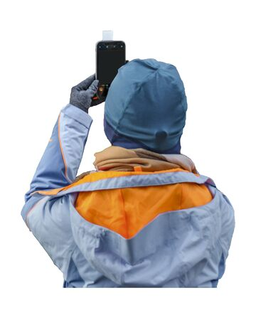 Isolated photo of person taking photos with mobile phone in white background