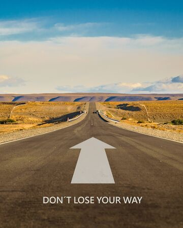 Inspirational or motivational landscape scene with dont lose your way text at bottom