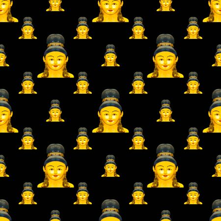 Conversational seamless pattern design asian doll head sculpture motif in yellow and black colors Stockfoto