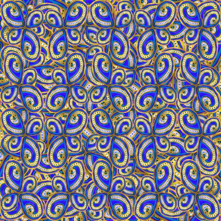 Luxury oriental ornate abstract seamless pattern desing in vivid blue and yellow colors Standard-Bild - 128202353