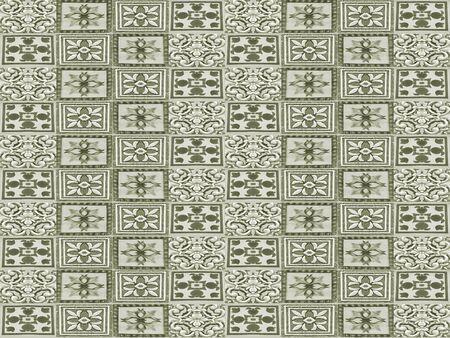 Ceramic tiles collage seamless pattern design in silver green tones Standard-Bild - 128202632