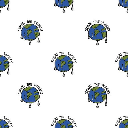 Ecological seamless graphic patttern illustration with save the planet text over earth shape motif