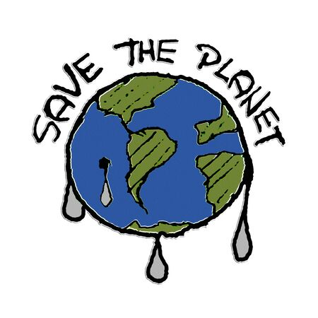 Ecological graphic illustration with save the planet text over earth shape Imagens