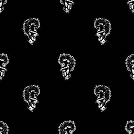 Conversational seamless pattern design indigenous man head drawing motif in black and white colors 写真素材