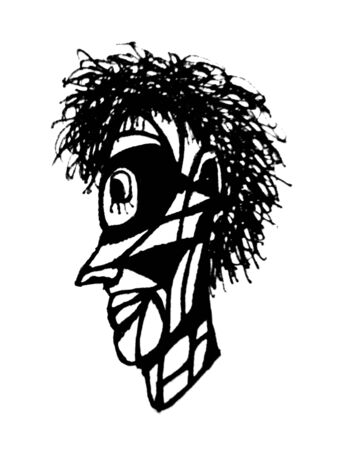 Side view portrait primitive man drawing in black and white colors 写真素材