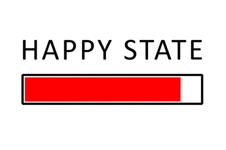 Happiness concept illustration depicting a progress bar with happiness state percentage