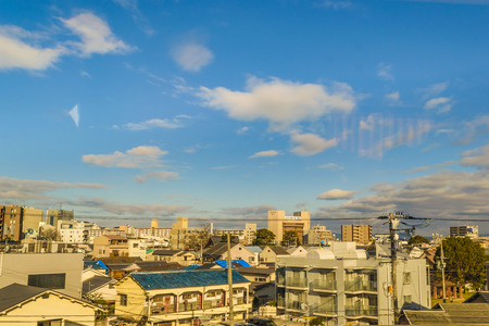 Urban scene of kyoto district from window train point of view