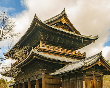 Exterior view of wooden religious temple at kyoto city, japan