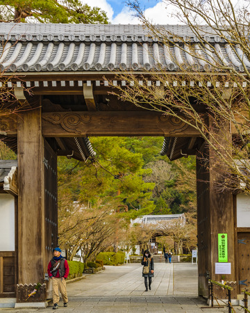 KYOTO, JAPAN, JANUARY - 2019 - Exterior view of religious temple entrance at kyoto city, japan Editorial