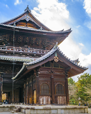 KYOTO, JAPAN, JANUARY - 2019 - Exterior view of big wooden religious temple at kyoto city, japan