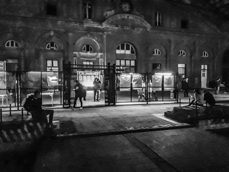MONTEVIDEO, URUGUAY, JUNE - 2019 - Night scene event at abandoned old train station in montevideo city, uruguay Publikacyjne