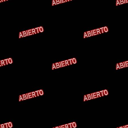 Conversational seamless pattern design with spanish text open motif in red and black colors