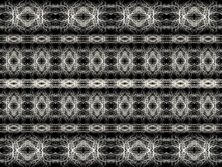 Digital technique abstract geometric tribal style seamless stripes pattern background design in black and white colors