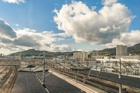 Aerial view of railways and landscape at background at shim yamaguchi station, japan Imagens