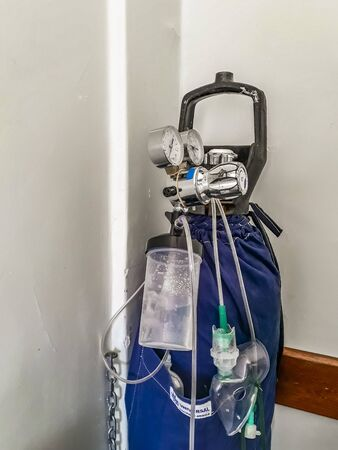 Oxygen tank detail at hospital room, montevideo city, uruguay