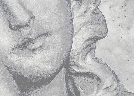 Angel woman sculpture face close up shot