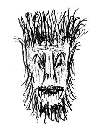 Black and white pencil drawing monster head illustration Zdjęcie Seryjne