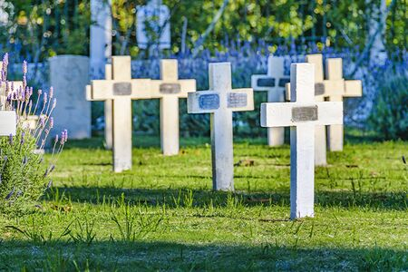 Group of crosses at private small cemetery at montevideo city, uruguay Banco de Imagens