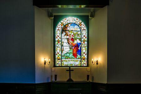 Interior scene at small chapel in montevideo city, uruguay Zdjęcie Seryjne