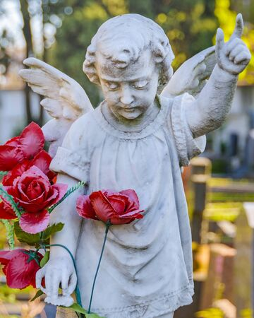 Angle sculpture at small cemetery, montevideo city, uruguay