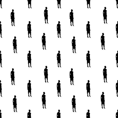 Conversational seamless pattern design moderl woman shape graphic silhouette motif in black and white colors Фото со стока