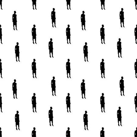 Konversationsnahtloses Musterdesign moderl Frau formt grafisches Silhouettenmotiv in den schwarzen und weißen Farben Standard-Bild