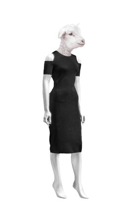 Funny photo illustration depicting a woman mannequin with lamb head dressed with black bodycon dress