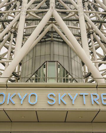 TOKYO, JAPAN, JANUARY - 2019 - Day scene low angle shot famous sky tree tower building, tokyo, japan 版權商用圖片