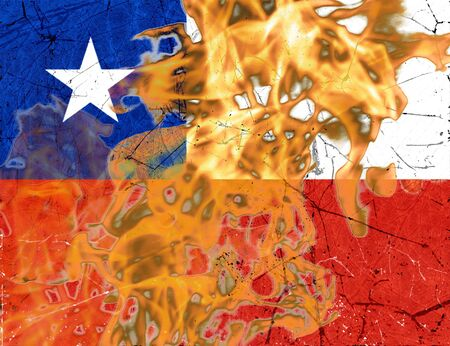 Chile flag ablaze with flames political conceptual illustration background